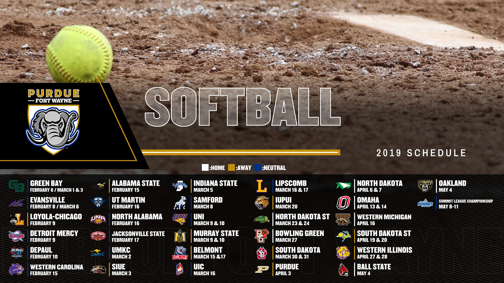 Softball Announces 2019 Schedule Purdue Fort Wayne Athletics